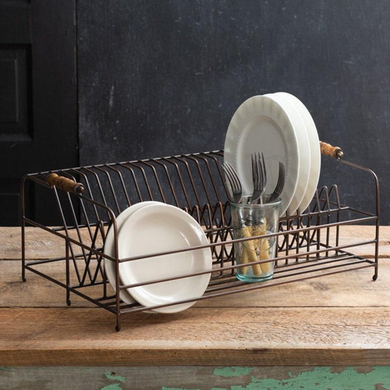 Large Antique Brass Plate Rack Table Decor Farmhouse image 1