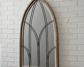 Arched Mirror w Wood Frame, Wood, Farmhouse, Wall Hanging, Wall Decor, Metal, Furnishings, Home Decor, Home Interiors, Modern, Contemporary