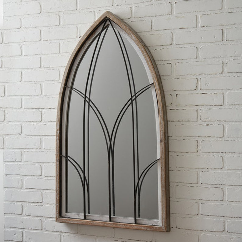 Arched Mirror w Wood Frame Wood Farmhouse Wall Hanging image 1