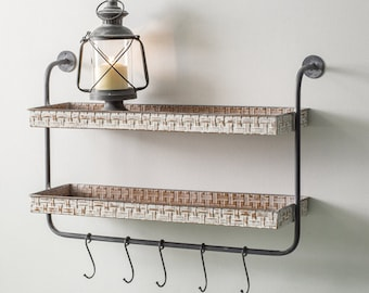 Two-Tier Wood Wall Shelf with Five Hooks, Wall Decor, Home Furnishings, Home Decor, Home Interiors, Farmhouse, Country, Metal, Wall Hanging