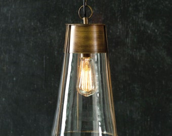 Ernest Cone Pendant Lamp, Lighting, Chandelier, Home Decor, Home Furnishings, Home Accents, Farmhouse, Brass, Glass, Vintage, Kitchen, Bar