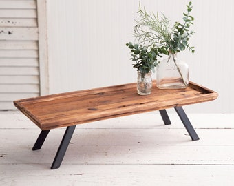 Industrial Raised Wood Tray, Serving Tray, Display, Kitchen, Dining, Riser, Farmhouse, Industrial, Wood, Iron, Table Decor, Home Accents