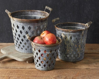 Set of Three Rustic Open Weave Metal Buckets, Storage, Free Shipping, Rustic, Farmhouse, Country, Table Decor, Floor Decor, Baskets, Kitchen