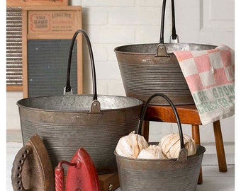 Set of Three Round Buckets with Handles, Table Decor, Home Furnishings, Home Accents, Farmhouse, Country, Figurine, Storage, Free Shipping