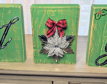 Christmas JOY Rustic Wood Table Decor, Block, Sign, Farmhouse, Distressed, Holiday, Fireplace Mantle, Home Decor, Home Accents, Gift Idea