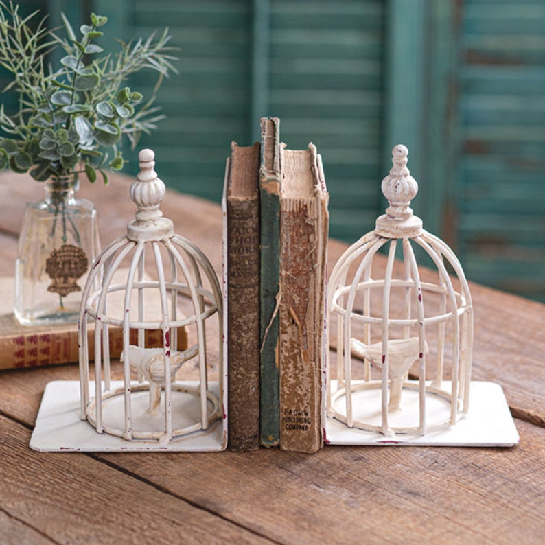 Birdcage Bookends Contemporary Two Table Decor Home image 1