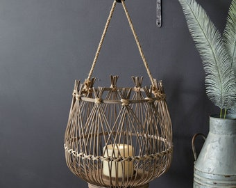 Cabana Lantern, Wood, Rattan, Boho, Wall Decor, Home Furnishings, Home Accents, Outdoor, Candleholder, Centerpiece, Patio, Porch, Entryway
