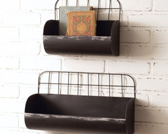 Set of Two Wire Back Wall Bins, Home Furnishings, Home Accents, Wall Hanging, Wall Decor, Country, Industrial, Farmhouse, Shelf, Storage