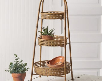 Three-Tier Metal Bamboo Tray, Serving, Dining, Table Decor, Home Furnishings, Home Accent, Boho, Decorative, Kitchen, Display Stand
