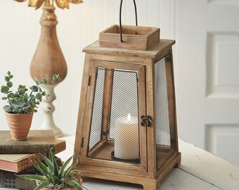 Sandalwood Mesh Lantern, Wood, Metal, Home Decor, Table, Home Furnishings, Home Accents, Modern, Contemporary, Farmhouse, Candle, Country