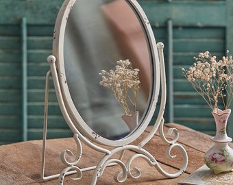 Kinsley Oval Tabletop Mirror, Vanity Table, Makeup Mirror, Table Decor, Bathroom, Bedroom, Shabby Chic, Distressed, Farmhouse, Free Shipping