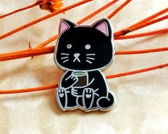 BlacKittea ( Black Kitty Tea) Hard Enamel Pin