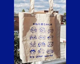 Hey Kitty, It's your world Canvas Tote Bag
