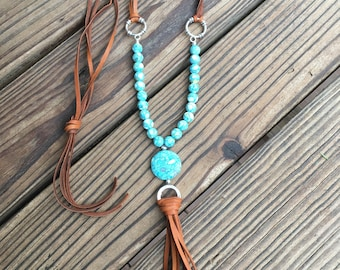 Leather Tassel Necklace/turquoise necklace/Boho necklace/5th Chakra