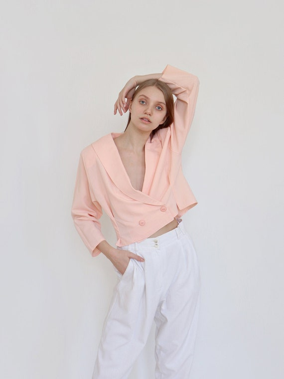 Vintage blazer / jacket Peachy pink pastels color