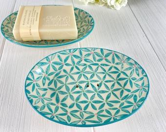 Soap dish ceramic oval handstamped almond oil soap Yuzu shower soap 100g vegan