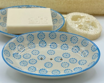 Soap dish ceramic hand-stamped almond oil soap with melon scent shower soap 100g vegan