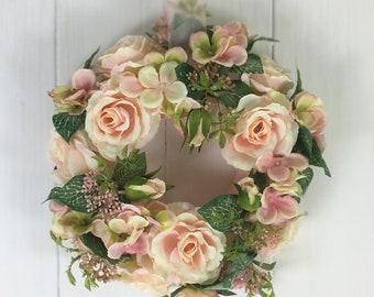 Roses hydrangeas wreath of silk 30 cm