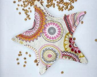 Cherry core pillow star 32 cm mandala spelt pillow