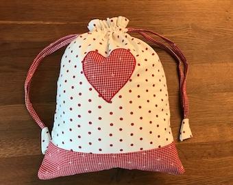 Bag with heart applique 30x 35 cm bread bag gift bag cotton washable decoration