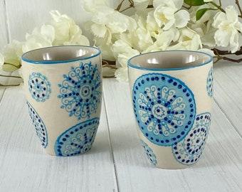 Ceramic mug 7x 8.5 cm hand-stamped