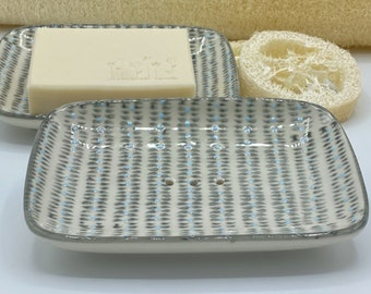 Soap Dish Ceramic HandStamped Almond Oil Soap Lemon Verbene Shower Soap 100g Vegan