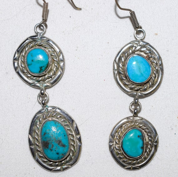 RARE BISBEE Turquoise Earrings Feathered Sterling Silver