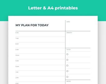 Minimalist Daily Planner Printable Insert, Digital Productivity Planner, Printable College Planner, Teacher Planner Letter & A4 Insert
