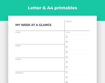 Printable Minimalist Weekly Planner, Weekly Agenda Template, To Do List, Weekly Planner Schedule, Minimal Weekly Planner Letter & A4