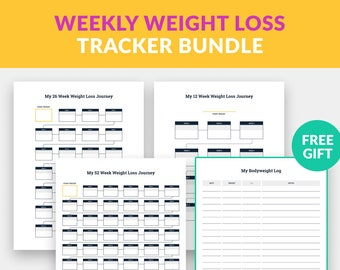 Weekly Weight Loss Tracker Bundle + FREE Bodyweight Log Chart Printable PDF, Weight Loss Printable Chart Pack, Weight Loss Posters PDF