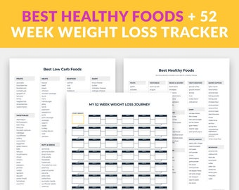 Healthy Low Carb Diet Food List + 52 Week Weight Loss Tracker Bundle, Best Foods for Weight Loss, Low Carb Food List Printable
