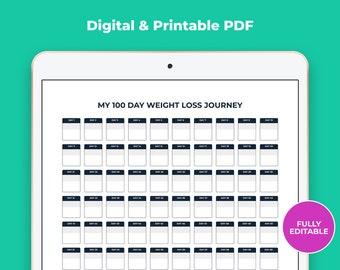 Digital 100 Day Weight Loss Tracker Weight Loss Journal, Daily Weight Loss Tracker, Weekly Weight Loss Chart, Weight Loss Editable PDF