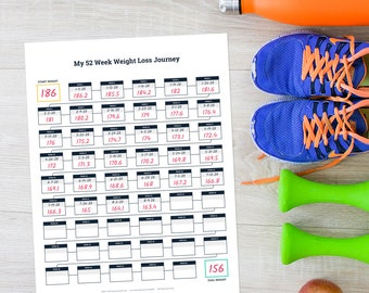 Printable 52 Week Weight Loss Tracker, 12 Month Weight Loss Journal, Weight Loss Goal Planner, Weight Log, Weight Loss Journey Poster