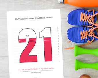 2021 Weight Loss Challenge, 21 Pound Weight Loss Tracker for Weight Loss Motivation, 21 lb Weight Loss Journal, Printable Weight Loss Chart