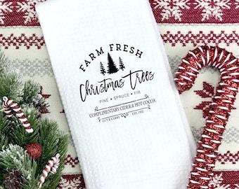 Tree farm Christmas designed Flour sack towels