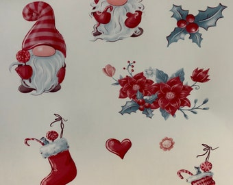 Christmas Gnomes transparent sticker sheets free shipping
