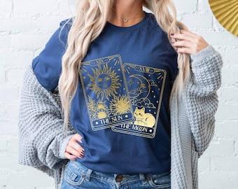 Metallic Celestial Moon and Sun Astrological Zodiac Tarot Card Print T Shirt