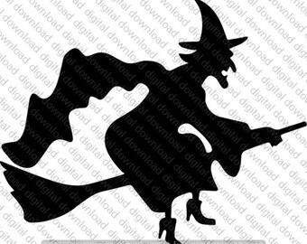 Witch riding broom   Etsy