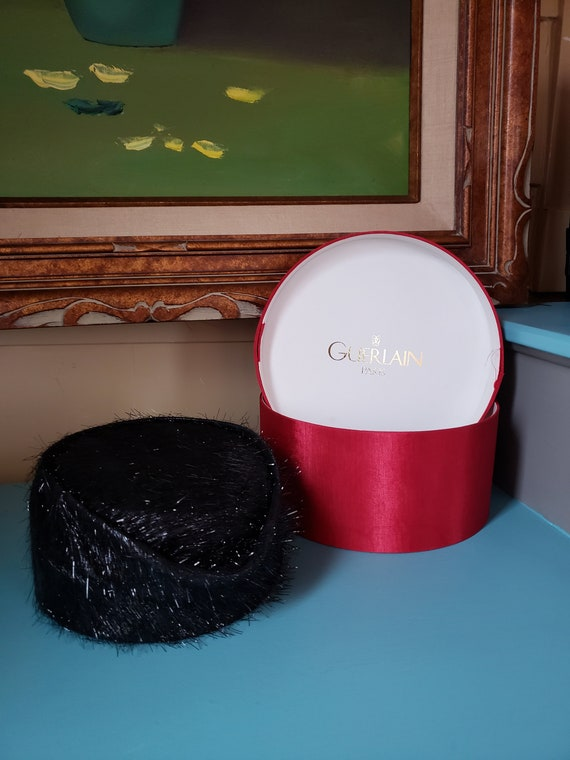 Red hat box with fabulous Black Pill Box Style Hat