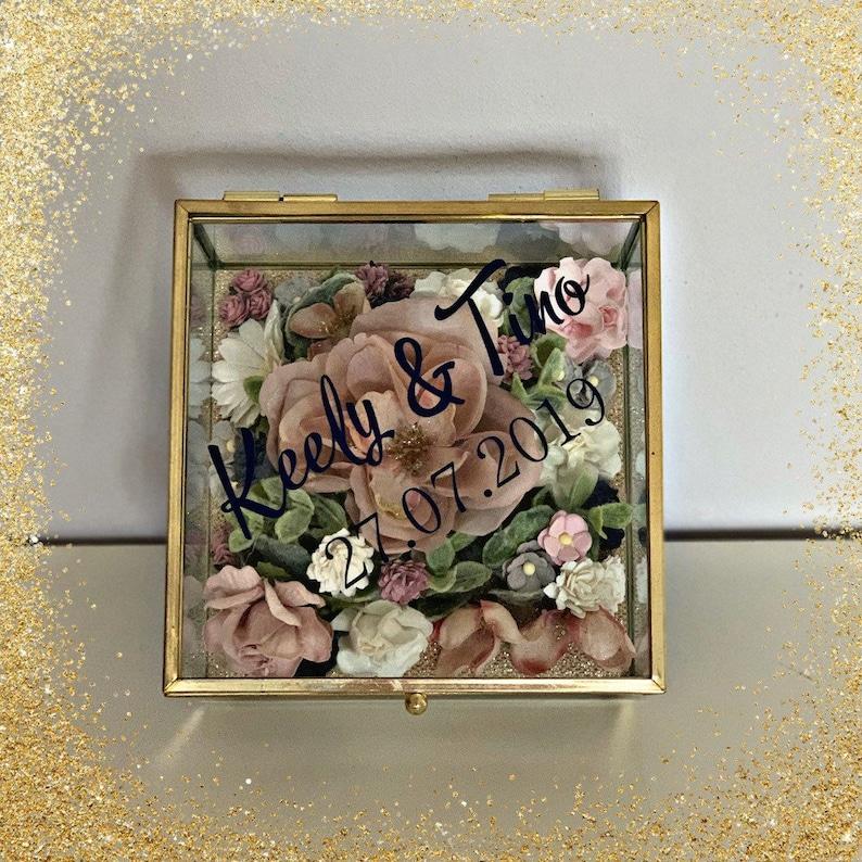 Bespoke /& Unique Personalised Wedding Ring Glass Box