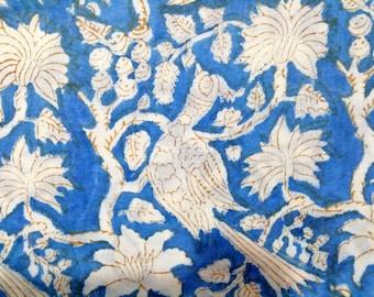 Fabric Cotton Flower Print Running Swing Vintage 20 Yard Hand Block Loose Decor
