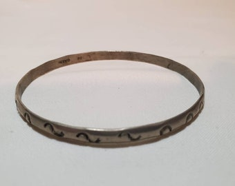 7\u201d vintage Sterling silver handmade bracelet Mexico 925 link with malachite inlay stamped 925 Mexico