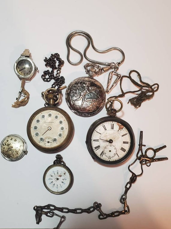 Pocket Watch Lot For Repair Parts