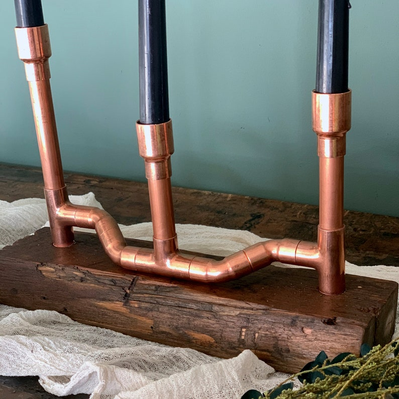Holiday Centerpiece THE SERPENT:  Handmade Copper Candelabra One Of A Kind Industrial Eclectic Decor