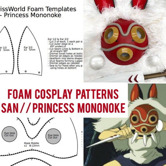 Cosplay Patterns San Princess Mononoke Eva Foam Mask Etsy