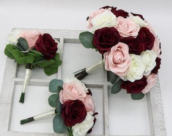 Dusty Rose ~ Burgundy ~ Wine DIY KIT ~ Ashley/'s Collection ~ Sola Flower Bouquet ~ Wedding Bridal Bouquet ~ Ivory