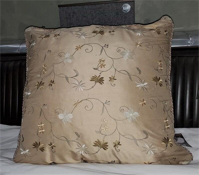 Glens of Antrim Throw Pillow Shell Cream Embroidered Silk Dupioni