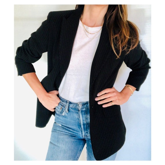 90s oversized black pinstripe blazer