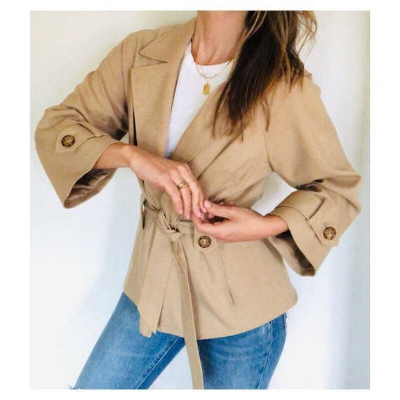 cropped swingy bell sleeve trench jacket