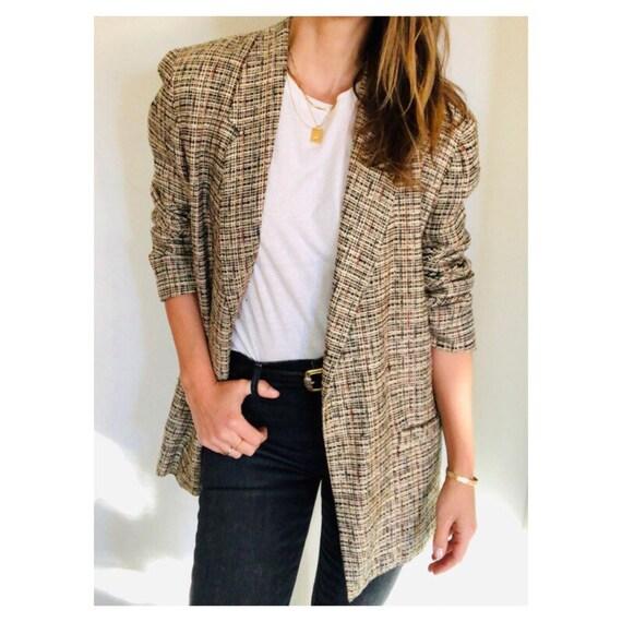 vintage multi tweed unstructured blazer